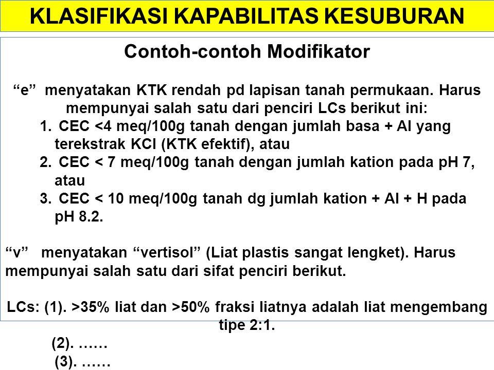 Sistem klasifikasi (interpretasi cara pengelolaan) n : dibutuhkan cara pengelolaan tanah alkalin c : dibutuhkan jenis tanaman yang toleran terhadap ka