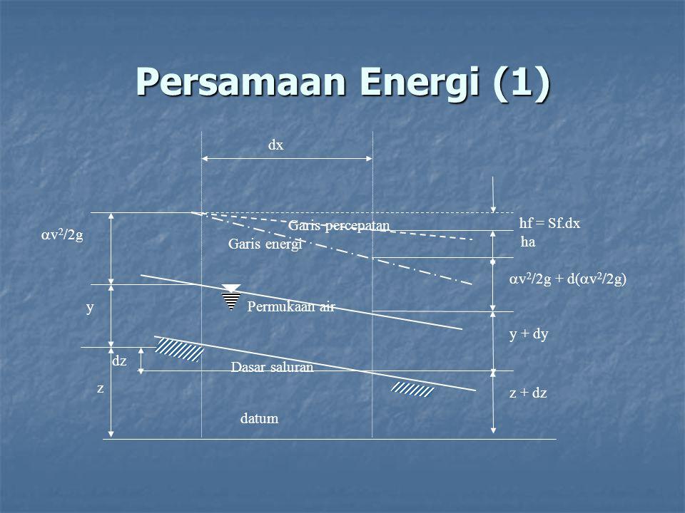 Persamaan Energi (1) datum Permukaan airGaris energi Garis percepatan dx z y  v 2 /2g dz z + dz y + dy  v 2 /2g + d(  v 2 /2g) hf = Sf.dx Dasar sal