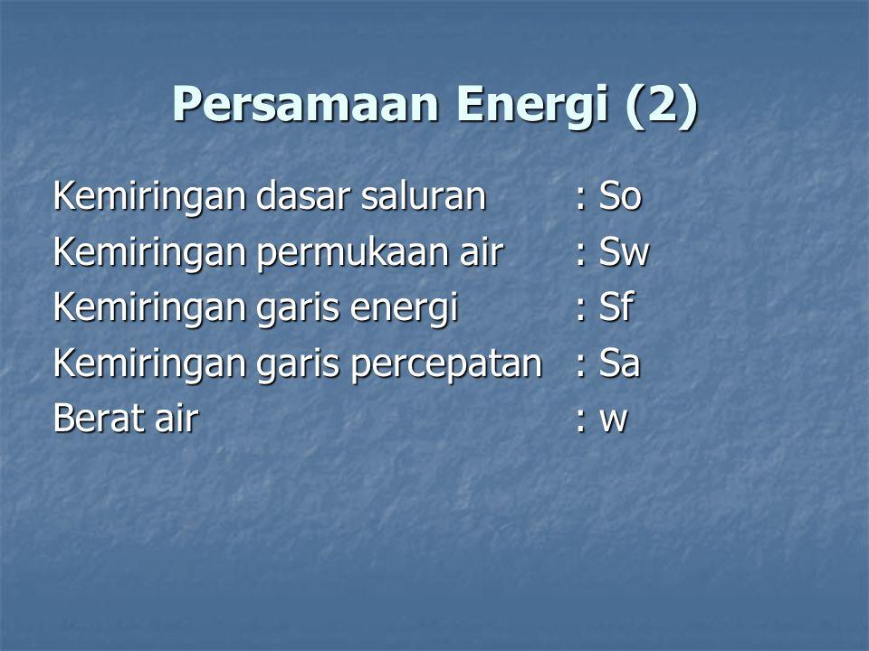 Persamaan Energi (2) Kemiringan dasar saluran: So Kemiringan permukaan air : Sw Kemiringan garis energi : Sf Kemiringan garis percepatan : Sa Berat ai
