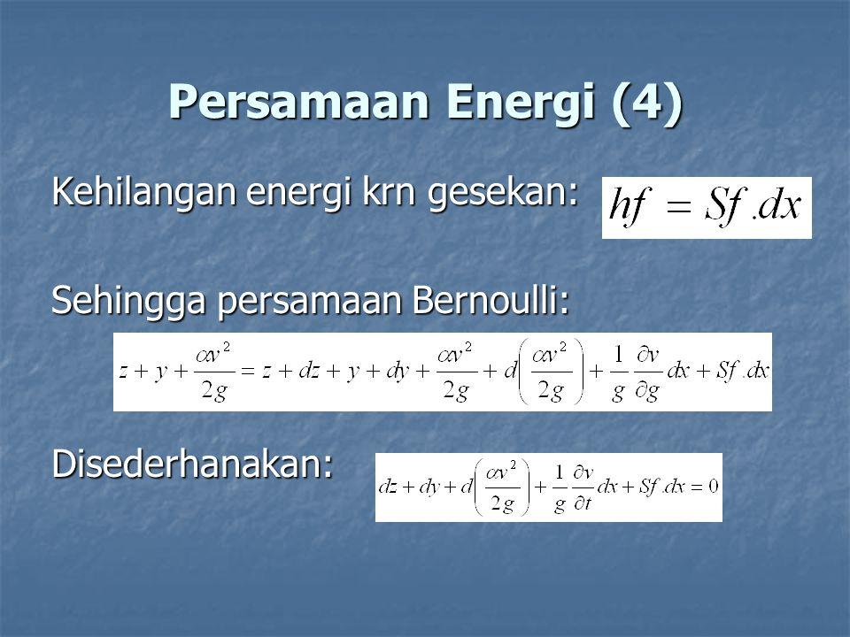 Persamaan Energi (4) Kehilangan energi krn gesekan: Sehingga persamaan Bernoulli: Disederhanakan: