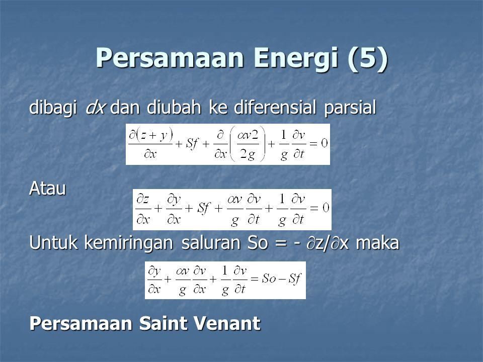 Persamaan Energi (5) dibagi dx dan diubah ke diferensial parsial Atau Untuk kemiringan saluran So = -  z/  x maka Persamaan Saint Venant