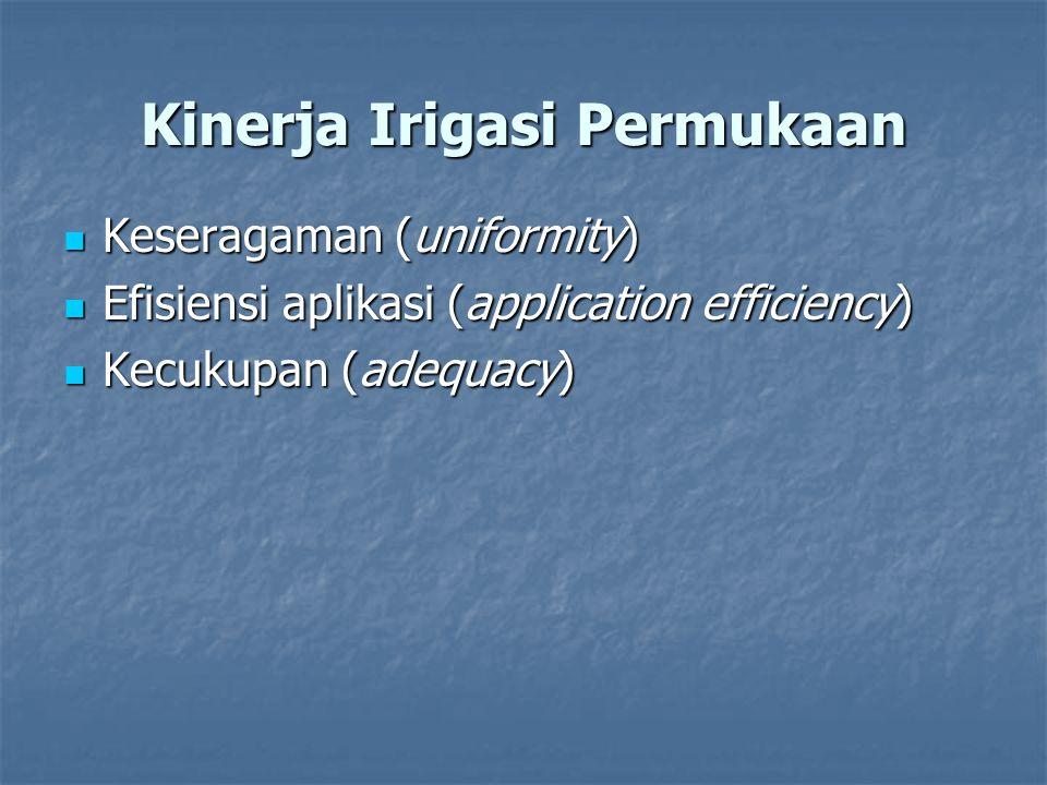 Kinerja Irigasi Permukaan Keseragaman (uniformity) Keseragaman (uniformity) Efisiensi aplikasi (application efficiency) Efisiensi aplikasi (applicatio