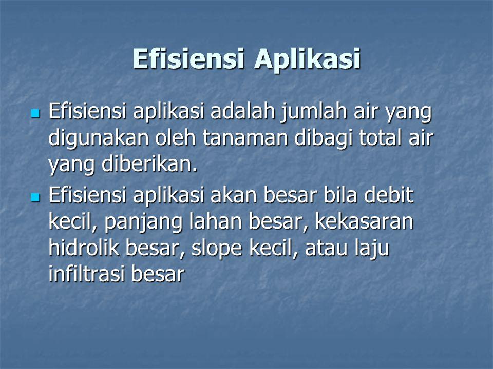 Efisiensi Aplikasi Efisiensi aplikasi adalah jumlah air yang digunakan oleh tanaman dibagi total air yang diberikan. Efisiensi aplikasi adalah jumlah