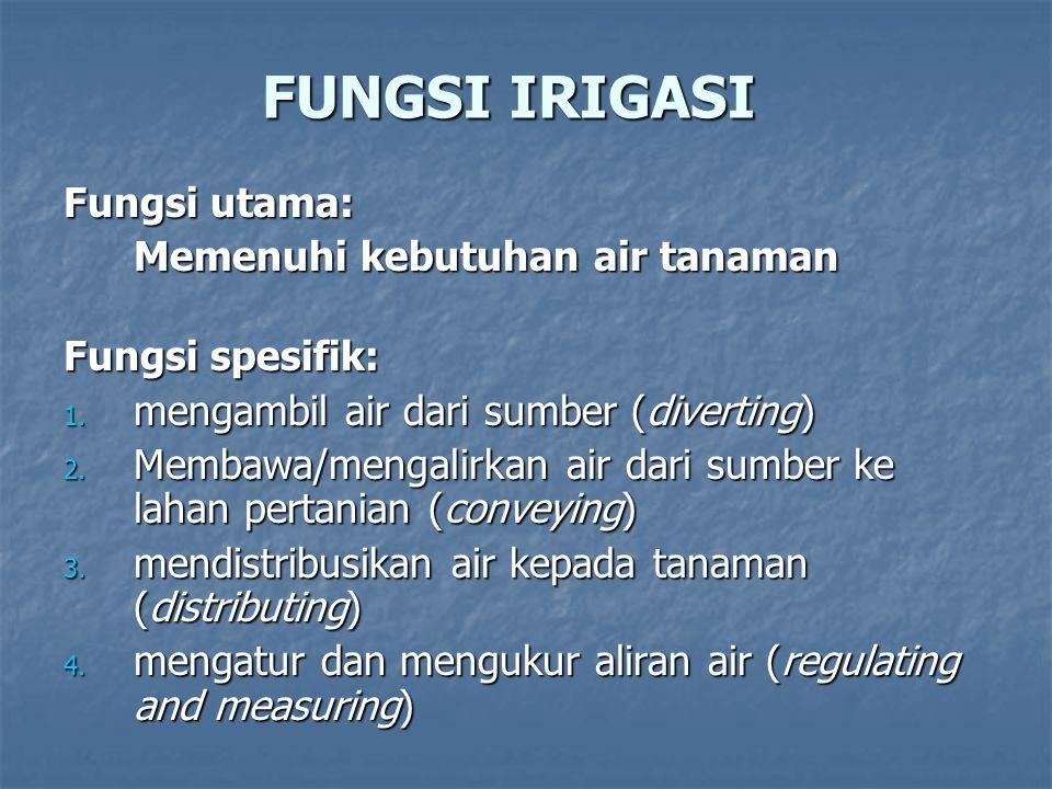 FUNGSI IRIGASI Fungsi utama: Memenuhi kebutuhan air tanaman Fungsi spesifik: 1. mengambil air dari sumber (diverting) 2. Membawa/mengalirkan air dari