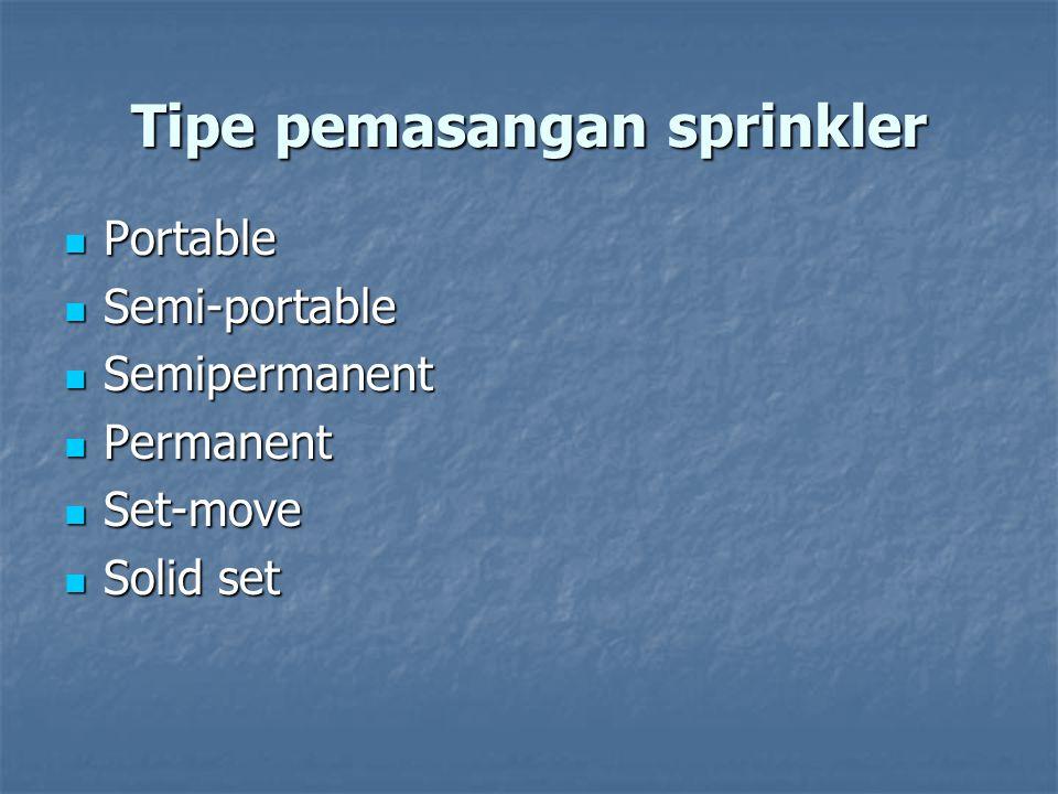 Tipe pemasangan sprinkler Portable Portable Semi-portable Semi-portable Semipermanent Semipermanent Permanent Permanent Set-move Set-move Solid set So