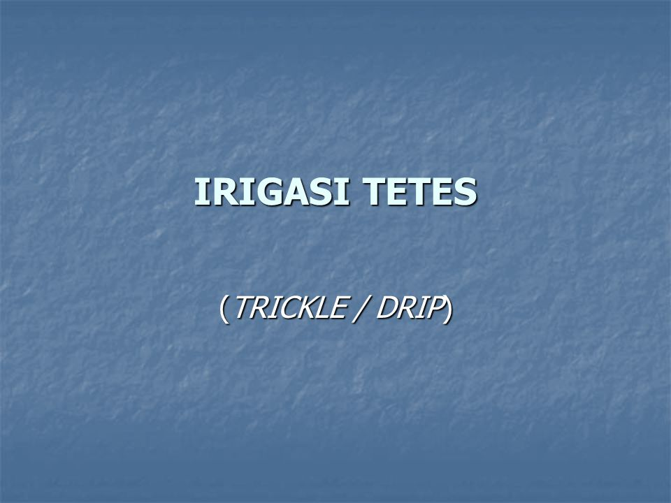 IRIGASI TETES (TRICKLE / DRIP)