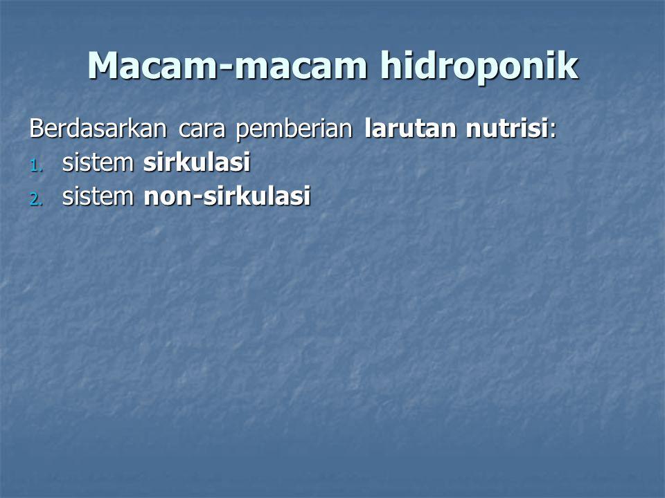 Macam-macam hidroponik Berdasarkan cara pemberian larutan nutrisi: 1. sistem sirkulasi 2. sistem non-sirkulasi