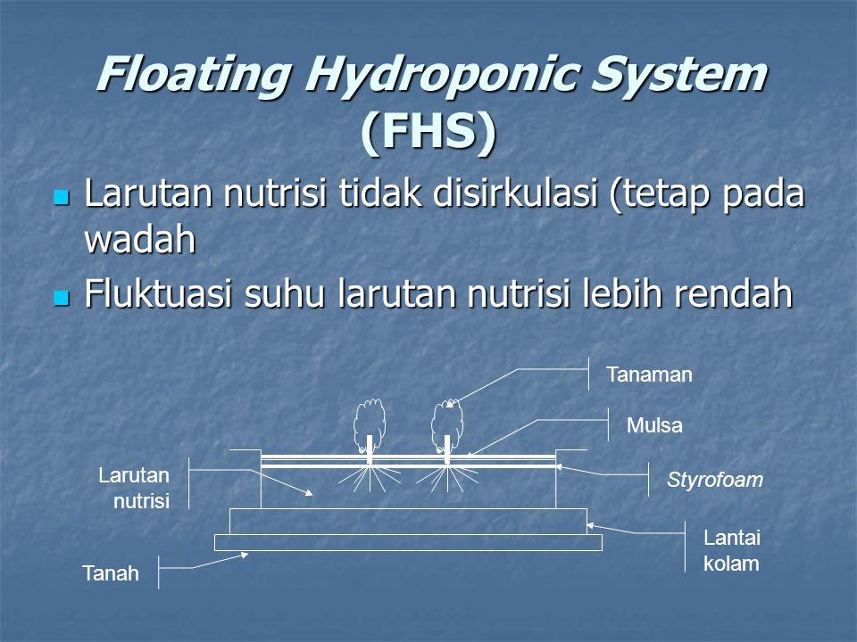 Floating Hydroponic System (FHS) Larutan nutrisi tidak disirkulasi (tetap pada wadah Larutan nutrisi tidak disirkulasi (tetap pada wadah Fluktuasi suh