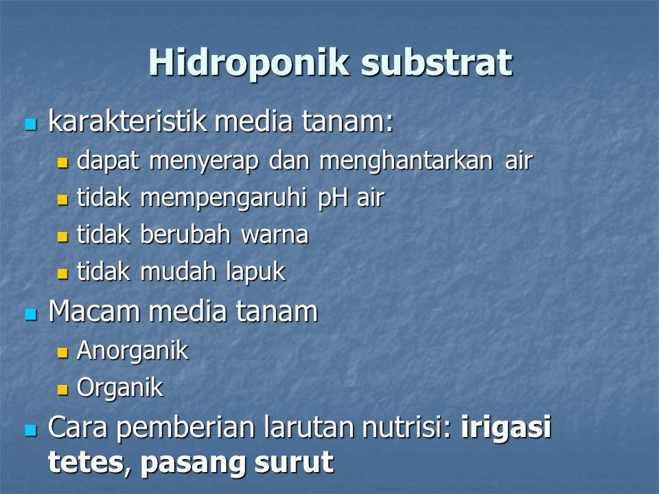 Hidroponik substrat karakteristik media tanam: karakteristik media tanam: dapat menyerap dan menghantarkan air dapat menyerap dan menghantarkan air ti