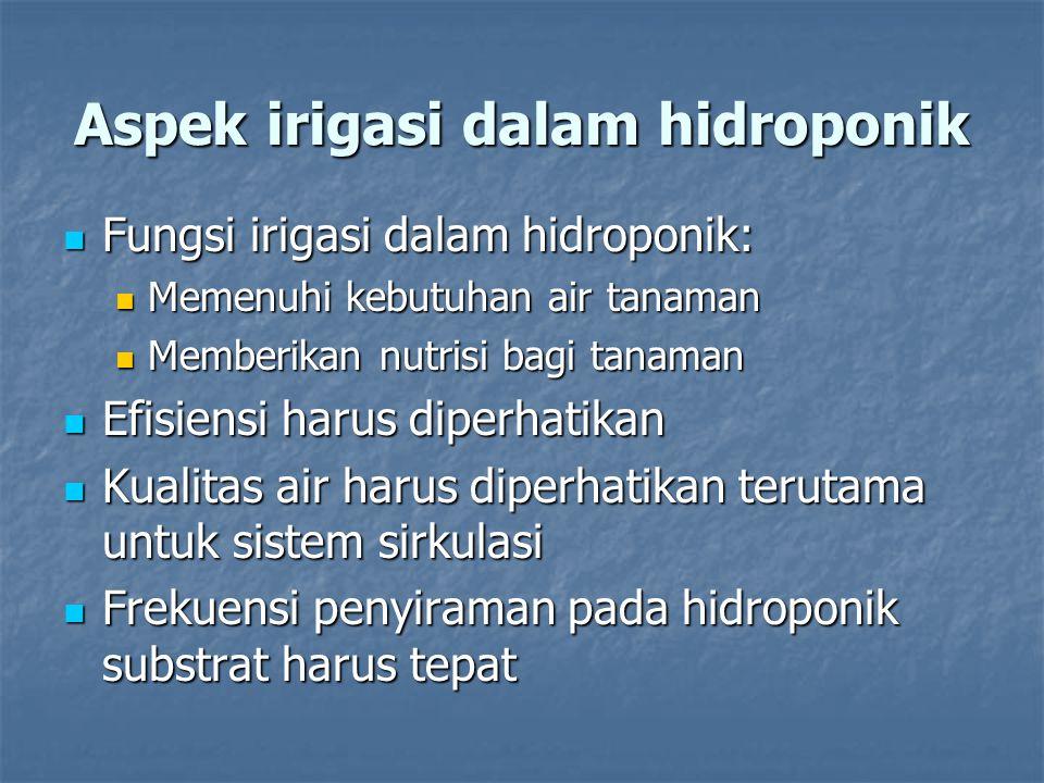 Aspek irigasi dalam hidroponik Fungsi irigasi dalam hidroponik: Fungsi irigasi dalam hidroponik: Memenuhi kebutuhan air tanaman Memenuhi kebutuhan air