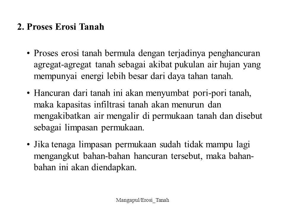 Mangapul/Erosi_Tanah Secara sederhana ada 3 kejadian pada saat proses erosi tanah terjadi, yaitu: 1.