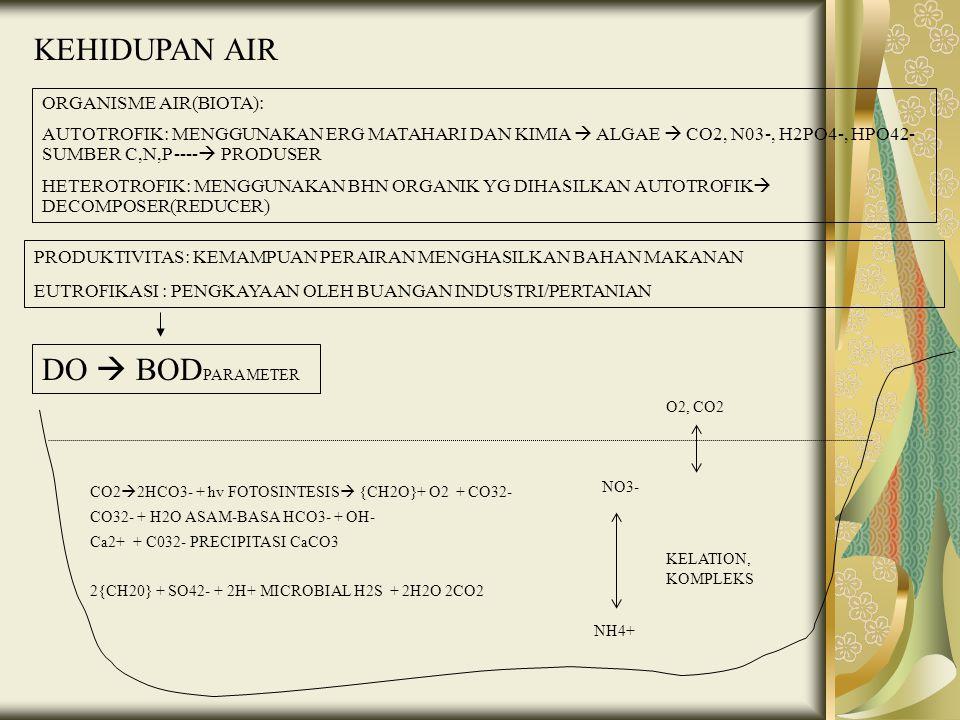 KEHIDUPAN AIR ORGANISME AIR(BIOTA): AUTOTROFIK: MENGGUNAKAN ERG MATAHARI DAN KIMIA  ALGAE  CO2, N03-, H2PO4-, HPO42- SUMBER C,N,P ----  PRODUSER HE
