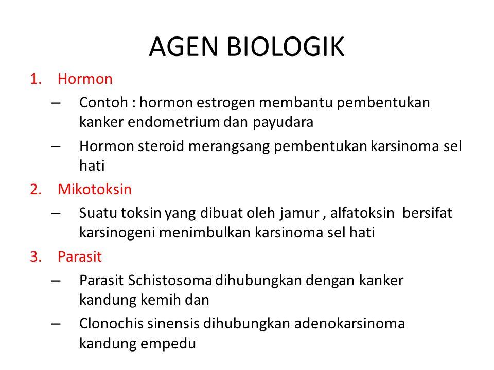 AGEN BIOLOGIK 1.Hormon – Contoh : hormon estrogen membantu pembentukan kanker endometrium dan payudara – Hormon steroid merangsang pembentukan karsino