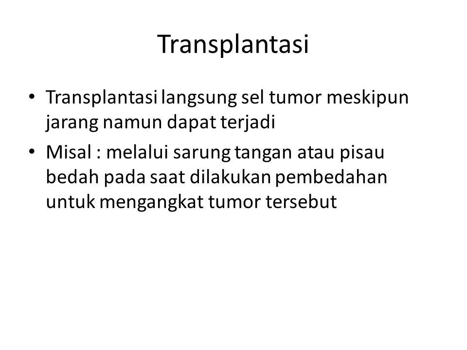 Transplantasi Transplantasi langsung sel tumor meskipun jarang namun dapat terjadi Misal : melalui sarung tangan atau pisau bedah pada saat dilakukan