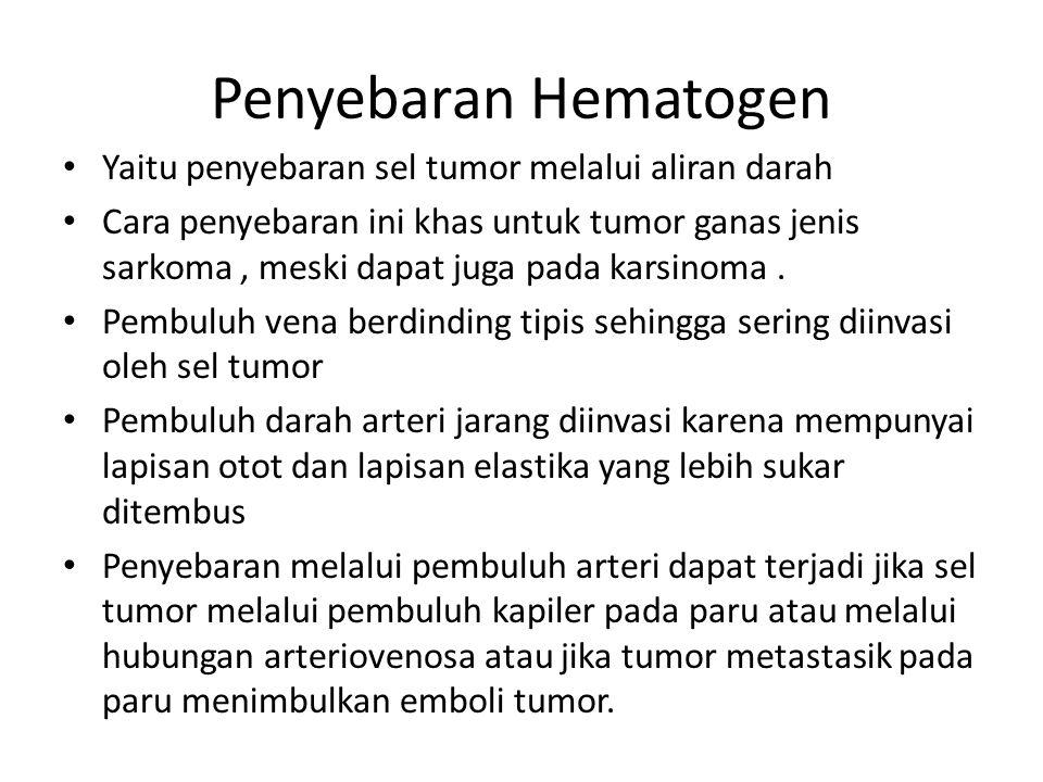 Penyebaran Hematogen Yaitu penyebaran sel tumor melalui aliran darah Cara penyebaran ini khas untuk tumor ganas jenis sarkoma, meski dapat juga pada k