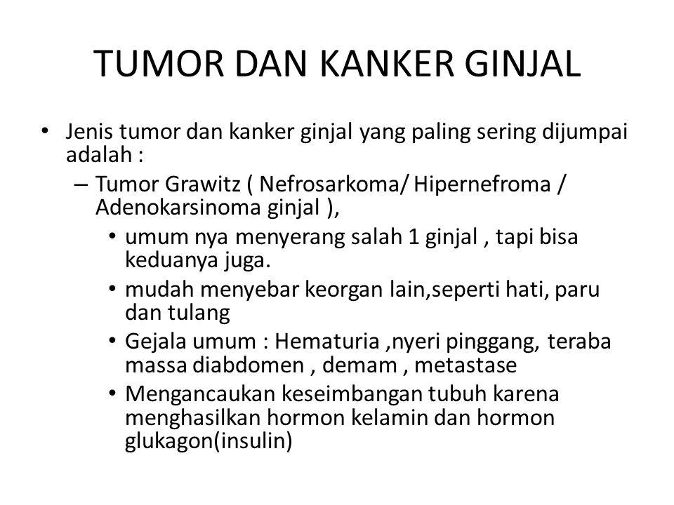 TUMOR DAN KANKER GINJAL Jenis tumor dan kanker ginjal yang paling sering dijumpai adalah : – Tumor Grawitz ( Nefrosarkoma/ Hipernefroma / Adenokarsino