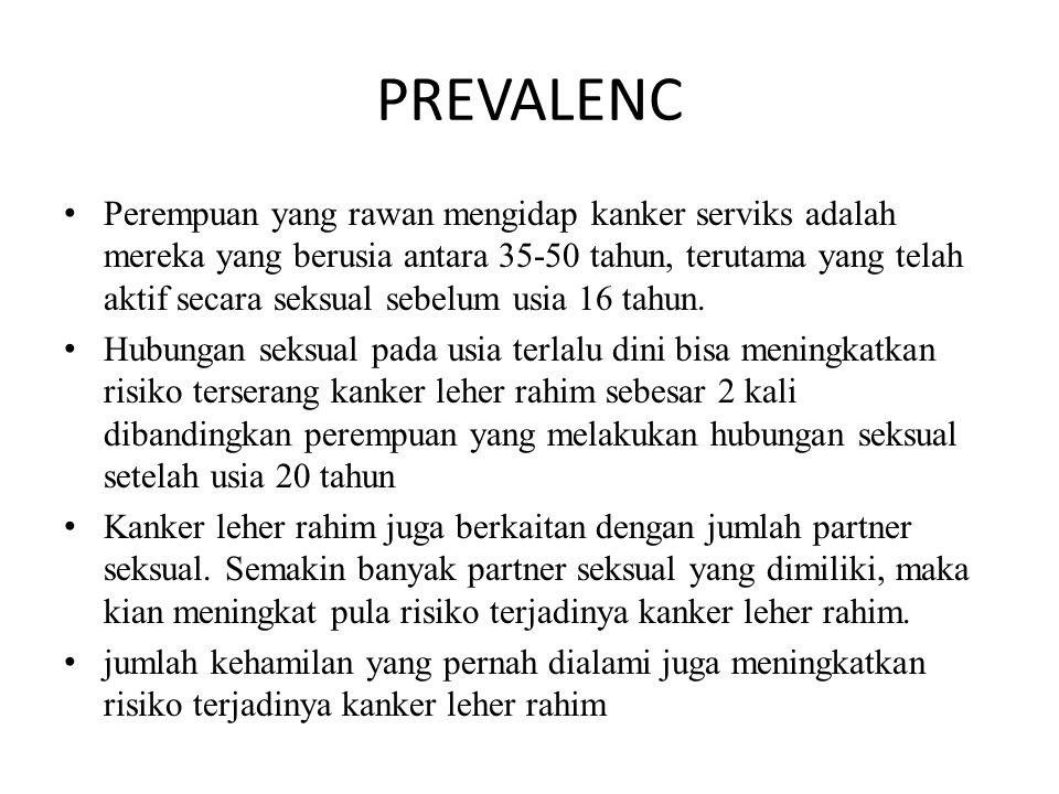 PREVALENC Perempuan yang rawan mengidap kanker serviks adalah mereka yang berusia antara 35-50 tahun, terutama yang telah aktif secara seksual sebelum