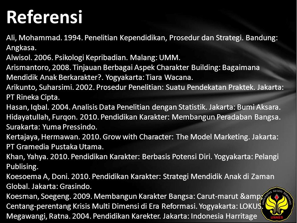Referensi Ali, Mohammad. 1994. Penelitian Kependidikan, Prosedur dan Strategi. Bandung: Angkasa. Alwisol. 2006. Psikologi Kepribadian. Malang: UMM. Ar