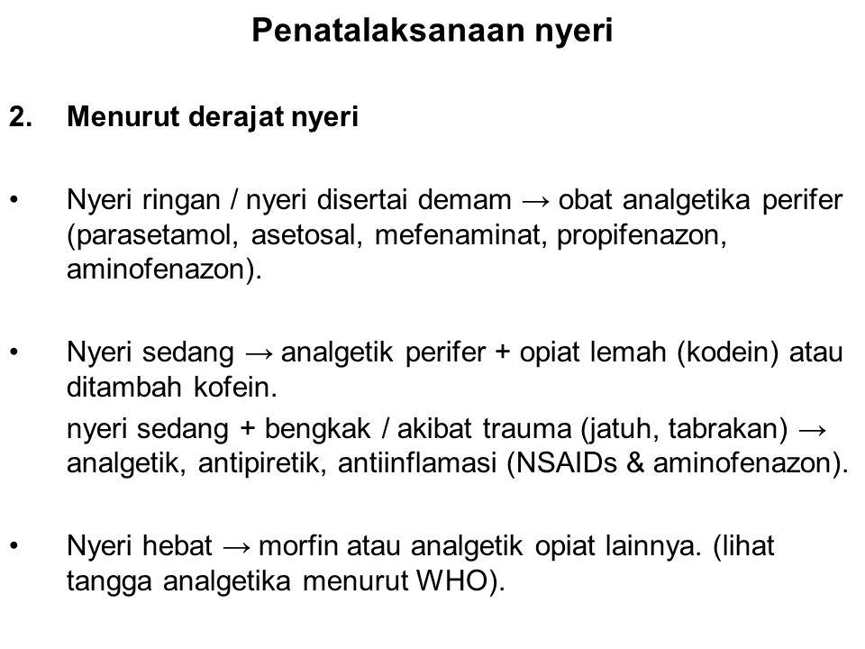 Penatalaksanaan nyeri 2.Menurut derajat nyeri Nyeri ringan / nyeri disertai demam → obat analgetika perifer (parasetamol, asetosal, mefenaminat, propi