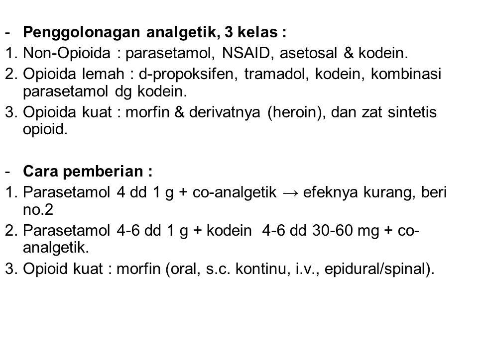 -Penggolonagan analgetik, 3 kelas : 1.Non-Opioida : parasetamol, NSAID, asetosal & kodein. 2.Opioida lemah : d-propoksifen, tramadol, kodein, kombinas