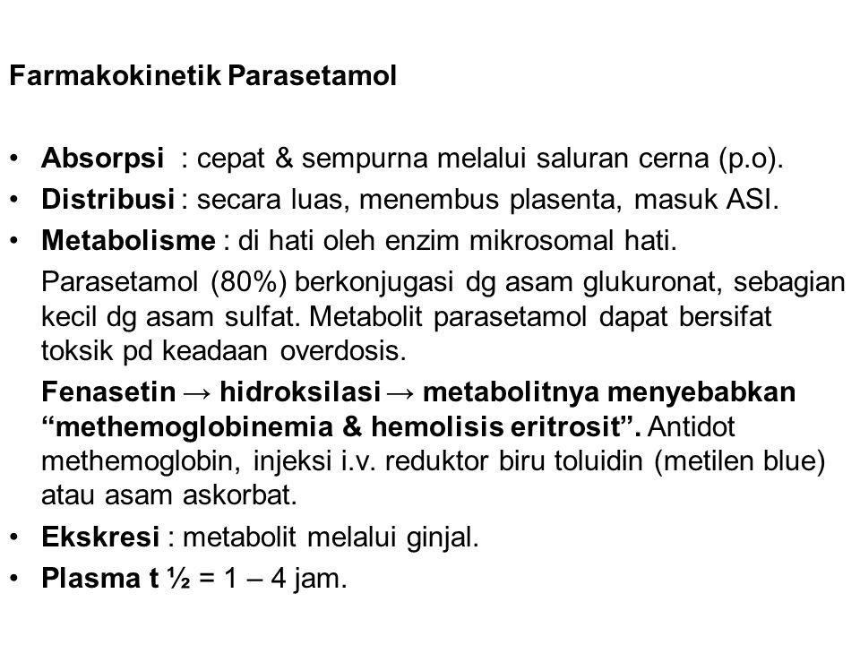 Farmakokinetik Parasetamol Absorpsi : cepat & sempurna melalui saluran cerna (p.o). Distribusi : secara luas, menembus plasenta, masuk ASI. Metabolism