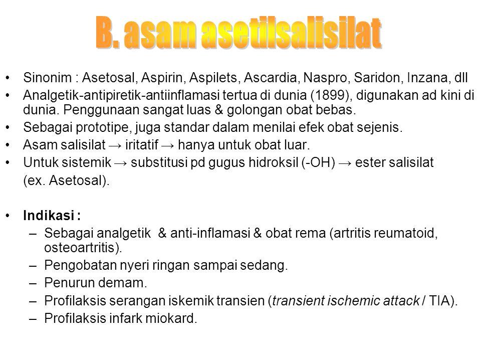 Sinonim : Asetosal, Aspirin, Aspilets, Ascardia, Naspro, Saridon, Inzana, dll Analgetik-antipiretik-antiinflamasi tertua di dunia (1899), digunakan ad