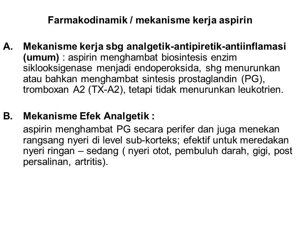 Farmakodinamik / mekanisme kerja aspirin A.Mekanisme kerja sbg analgetik-antipiretik-antiinflamasi (umum) : aspirin menghambat biosintesis enzim siklo