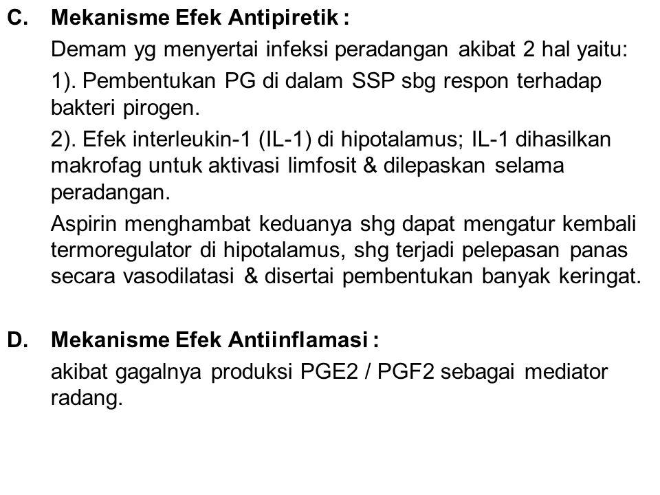 C.Mekanisme Efek Antipiretik : Demam yg menyertai infeksi peradangan akibat 2 hal yaitu: 1). Pembentukan PG di dalam SSP sbg respon terhadap bakteri p