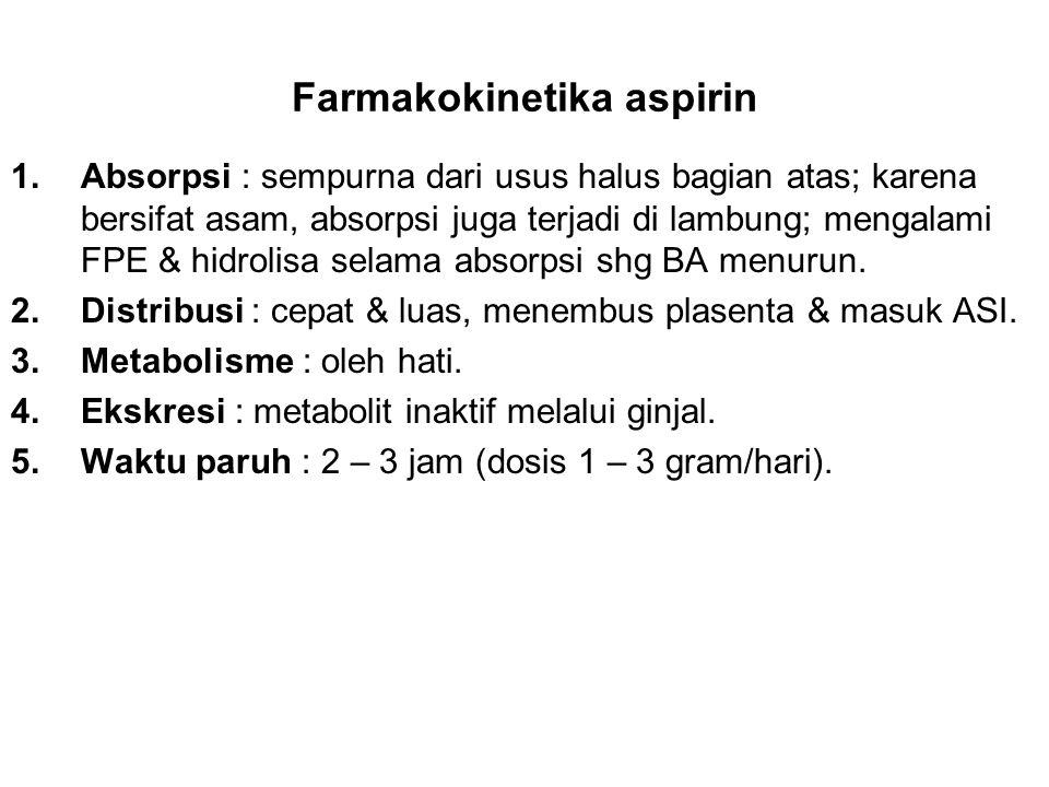 Farmakokinetika aspirin 1.Absorpsi : sempurna dari usus halus bagian atas; karena bersifat asam, absorpsi juga terjadi di lambung; mengalami FPE & hid