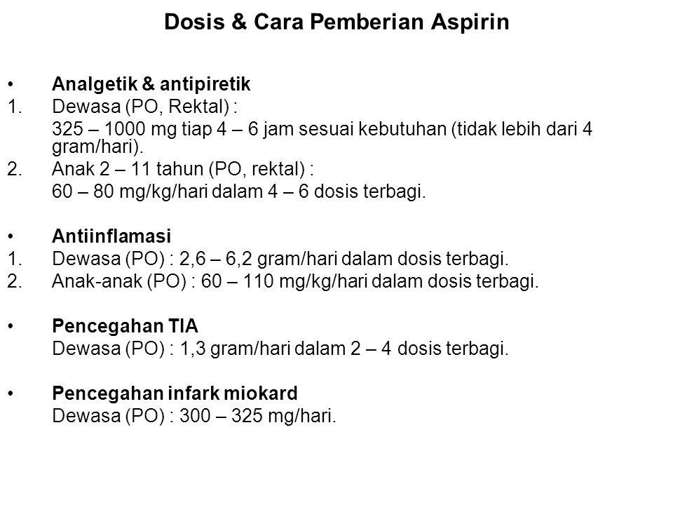 Dosis & Cara Pemberian Aspirin Analgetik & antipiretik 1.Dewasa (PO, Rektal) : 325 – 1000 mg tiap 4 – 6 jam sesuai kebutuhan (tidak lebih dari 4 gram/