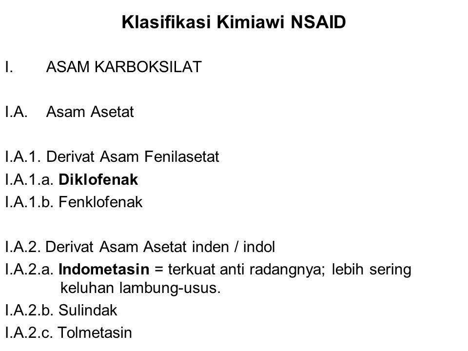 Klasifikasi Kimiawi NSAID I.ASAM KARBOKSILAT I.A. Asam Asetat I.A.1. Derivat Asam Fenilasetat I.A.1.a. Diklofenak I.A.1.b. Fenklofenak I.A.2. Derivat