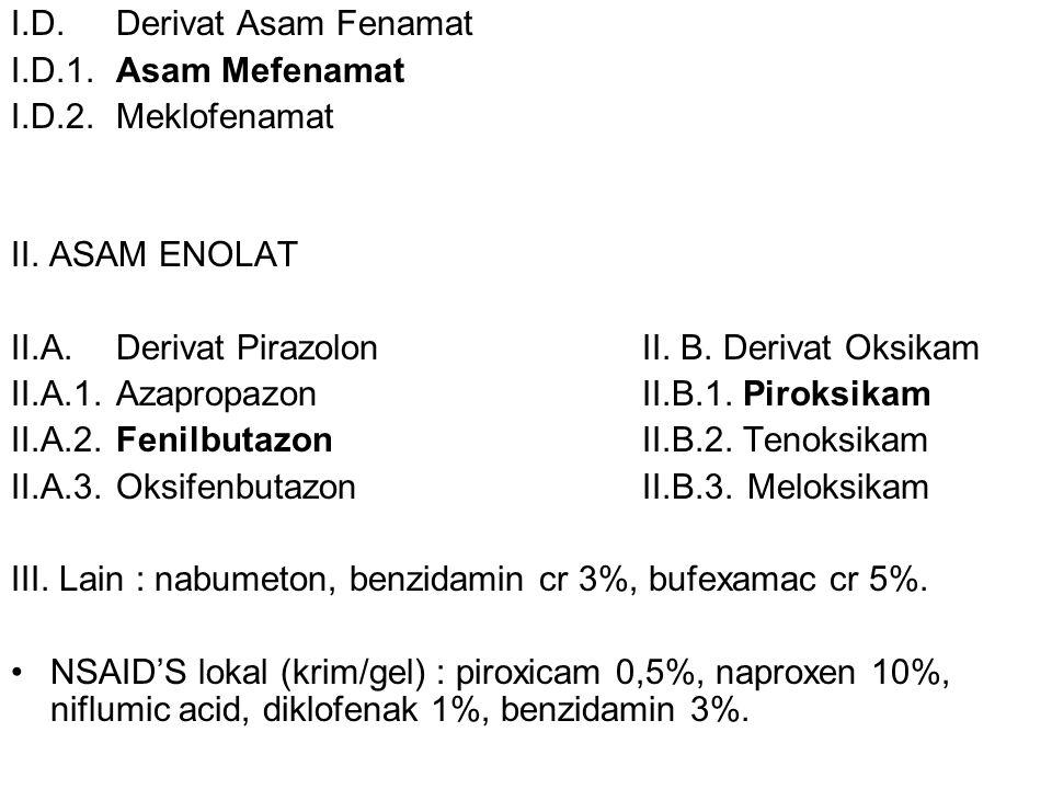 I.D. Derivat Asam Fenamat I.D.1. Asam Mefenamat I.D.2. Meklofenamat II. ASAM ENOLAT II.A. Derivat PirazolonII. B. Derivat Oksikam II.A.1. AzapropazonI