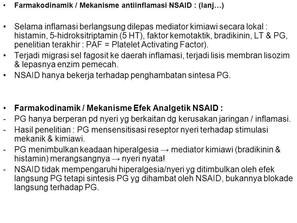 Farmakodinamik / Mekanisme antiinflamasi NSAID : (lanj…) Selama inflamasi berlangsung dilepas mediator kimiawi secara lokal : histamin, 5-hidroksitrip