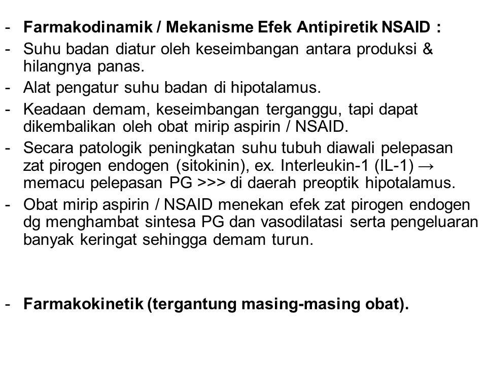 -Farmakodinamik / Mekanisme Efek Antipiretik NSAID : -Suhu badan diatur oleh keseimbangan antara produksi & hilangnya panas. -Alat pengatur suhu badan
