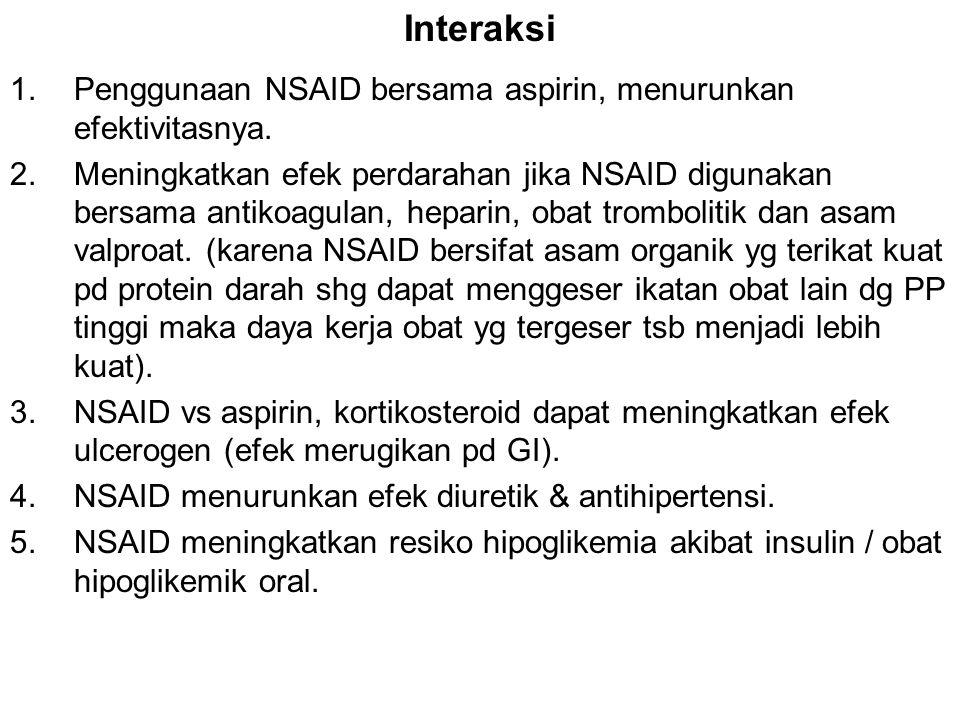 1.Penggunaan NSAID bersama aspirin, menurunkan efektivitasnya. 2.Meningkatkan efek perdarahan jika NSAID digunakan bersama antikoagulan, heparin, obat