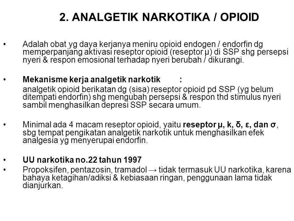 2. ANALGETIK NARKOTIKA / OPIOID Adalah obat yg daya kerjanya meniru opioid endogen / endorfin dg memperpanjang aktivasi reseptor opioid (reseptor µ) d