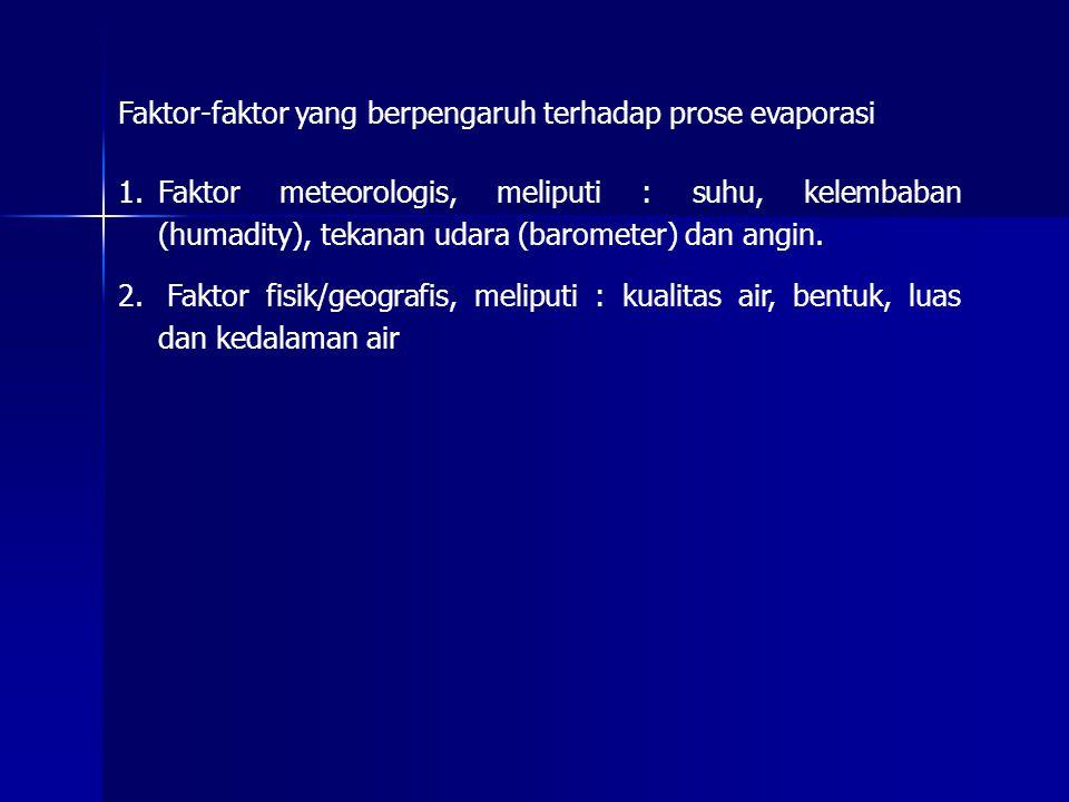 Faktor-faktor yang berpengaruh terhadap prose evaporasi 1.Faktor meteorologis, meliputi : suhu, kelembaban (humadity), tekanan udara (barometer) dan a