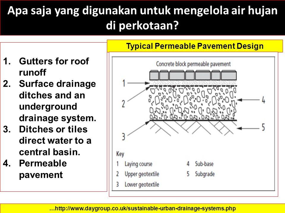Apa saja yang digunakan untuk mengelola air hujan di perkotaan? 1.Gutters for roof runoff 2.Surface drainage ditches and an underground drainage syste