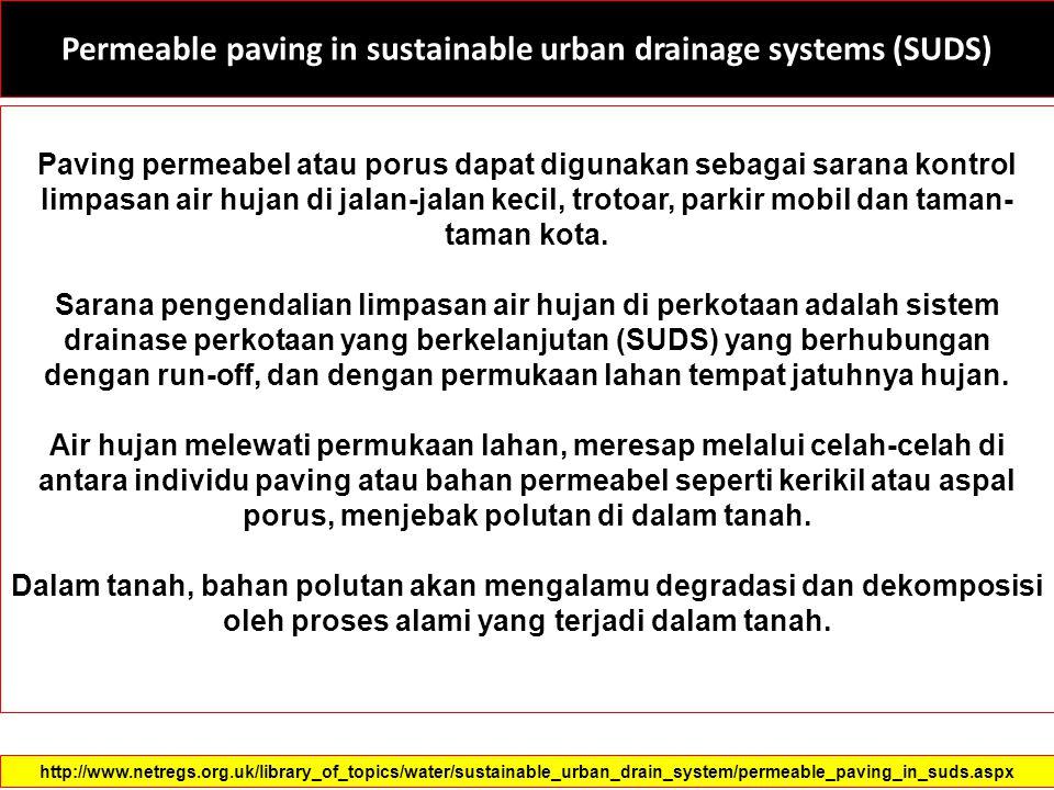 Permeable paving in sustainable urban drainage systems (SUDS) Paving permeabel atau porus dapat digunakan sebagai sarana kontrol limpasan air hujan di jalan-jalan kecil, trotoar, parkir mobil dan taman- taman kota.