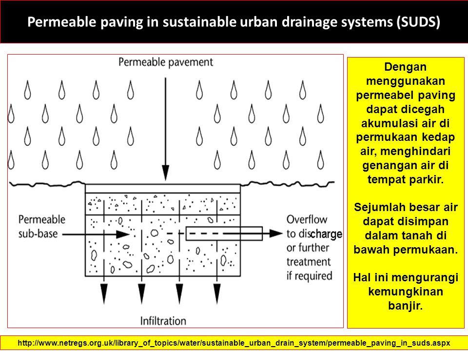 Permeable paving in sustainable urban drainage systems (SUDS) Dengan menggunakan permeabel paving dapat dicegah akumulasi air di permukaan kedap air,