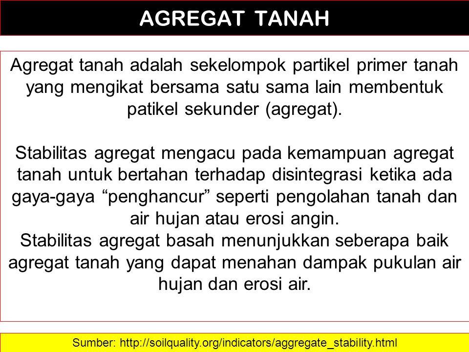 2 AGREGAT TANAH Agregat tanah adalah sekelompok partikel primer tanah yang mengikat bersama satu sama lain membentuk patikel sekunder (agregat). Stabi