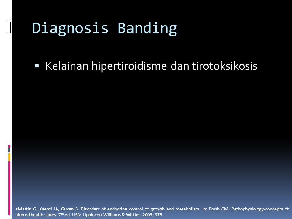 Diagnosis Banding  Kelainan hipertiroidisme dan tirotoksikosis Matfin G, Kuenzi JA, Guven S. Disorders of endocrine control of growth and metabolism.