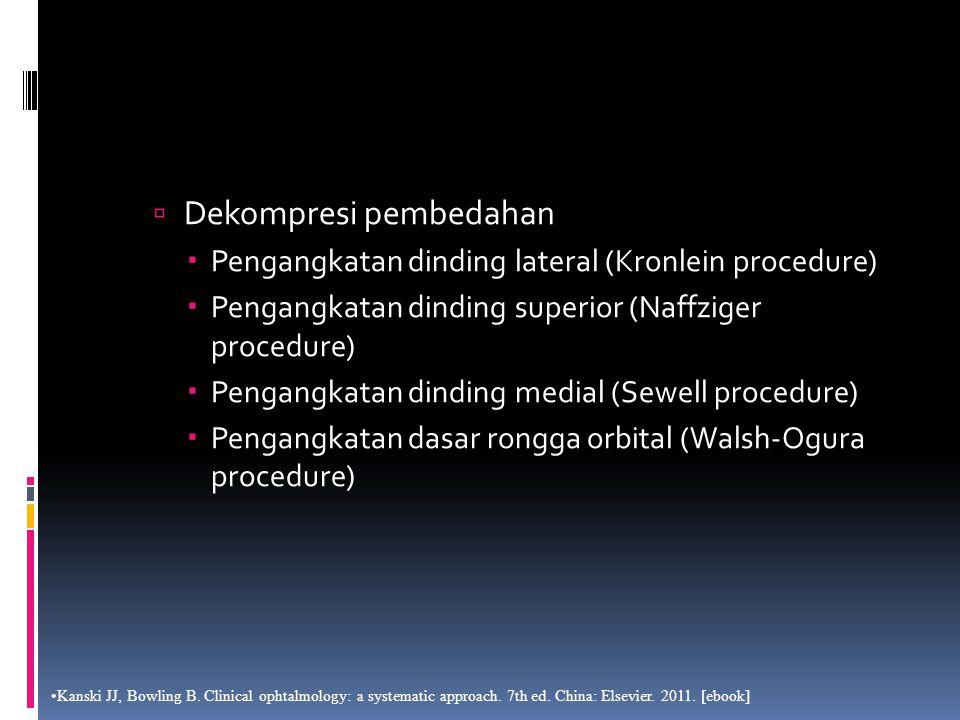  Dekompresi pembedahan  Pengangkatan dinding lateral (Kronlein procedure)  Pengangkatan dinding superior (Naffziger procedure)  Pengangkatan dindi