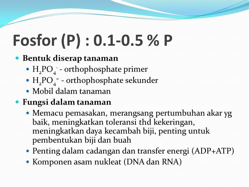 Fosfor (P) : 0.1-0.5 % P Bentuk diserap tanaman H 2 PO 4 - - orthophosphate primer H 2 PO 4 = - orthophosphate sekunder Mobil dalam tanaman Fungsi dalam tanaman Memacu pemasakan, merangsang pertumbuhan akar yg baik, meningkatkan toleransi thd kekeringan, meningkatkan daya kecambah biji, penting untuk pembentukan biji dan buah Penting dalam cadangan dan transfer energi (ADP+ATP) Komponen asam nukleat (DNA dan RNA)