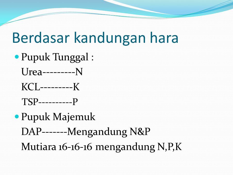 Berdasar kandungan hara Pupuk Tunggal : Urea---------N KCL---------K TSP----------P Pupuk Majemuk DAP-------Mengandung N&P Mutiara 16-16-16 mengandung N,P,K