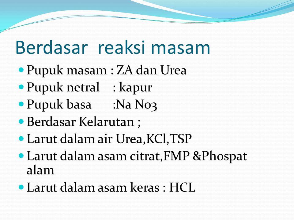 Berdasar reaksi masam Pupuk masam : ZA dan Urea Pupuk netral : kapur Pupuk basa :Na No3 Berdasar Kelarutan ; Larut dalam air Urea,KCl,TSP Larut dalam asam citrat,FMP &Phospat alam Larut dalam asam keras : HCL
