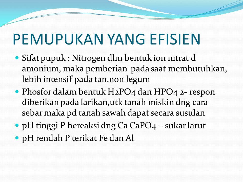 PEMUPUKAN YANG EFISIEN Sifat pupuk : Nitrogen dlm bentuk ion nitrat d amonium, maka pemberian pada saat membutuhkan, lebih intensif pada tan.non legum Phosfor dalam bentuk H2PO4 dan HPO4 2- respon diberikan pada larikan,utk tanah miskin dng cara sebar maka pd tanah sawah dapat secara susulan pH tinggi P bereaksi dng Ca CaPO4 – sukar larut pH rendah P terikat Fe dan Al