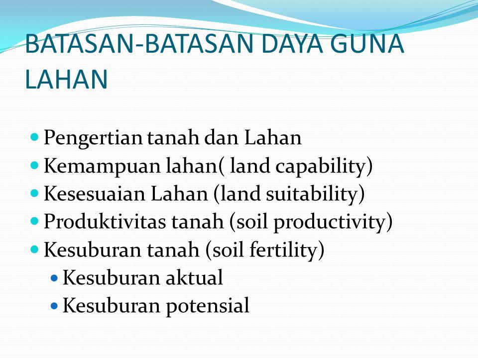 BATASAN-BATASAN DAYA GUNA LAHAN Pengertian tanah dan Lahan Kemampuan lahan( land capability) Kesesuaian Lahan (land suitability) Produktivitas tanah (soil productivity) Kesuburan tanah (soil fertility) Kesuburan aktual Kesuburan potensial
