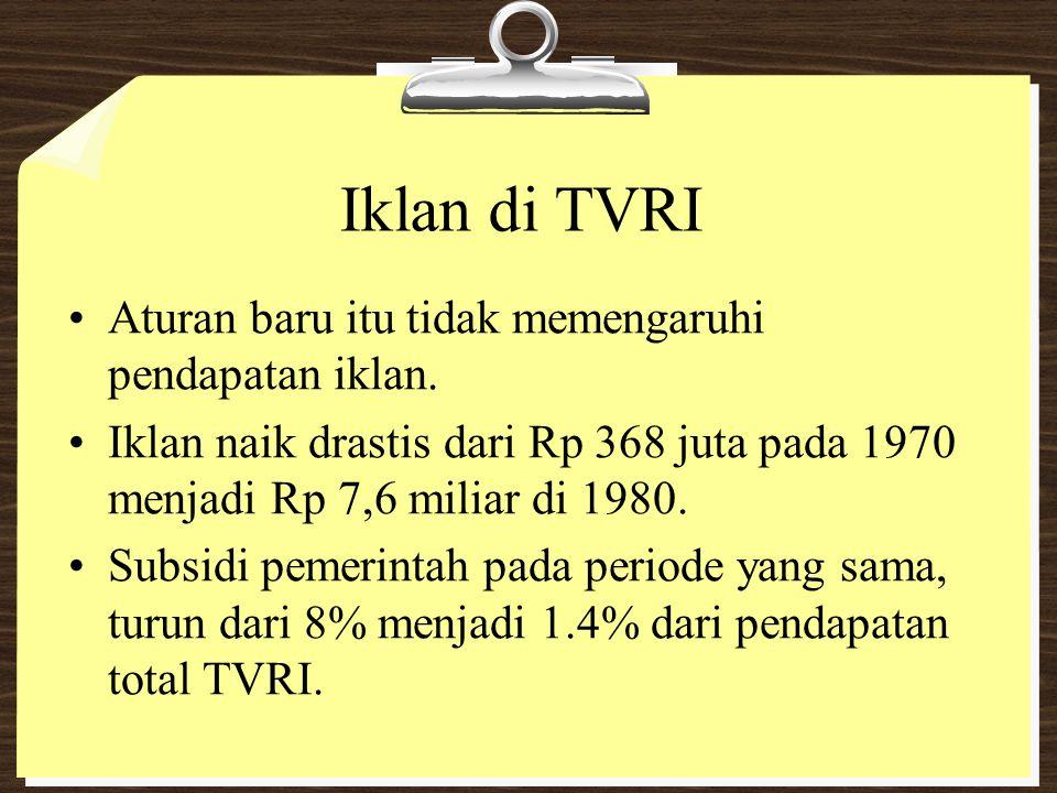 Iklan di TVRI Aturan baru itu tidak memengaruhi pendapatan iklan. Iklan naik drastis dari Rp 368 juta pada 1970 menjadi Rp 7,6 miliar di 1980. Subsidi