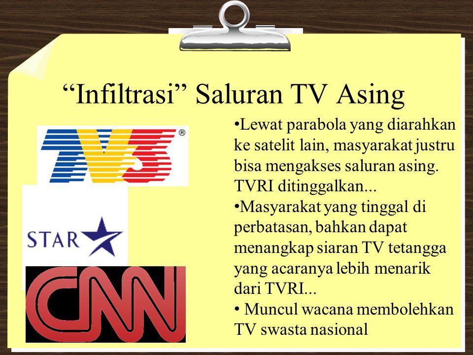"""""""Infiltrasi"""" Saluran TV Asing Lewat parabola yang diarahkan ke satelit lain, masyarakat justru bisa mengakses saluran asing. TVRI ditinggalkan... Masy"""